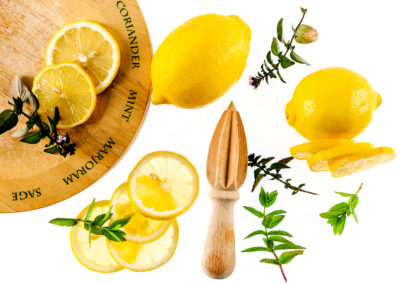 Fresh Lemons with herbs - Styling and photography by Sue Todd Photography