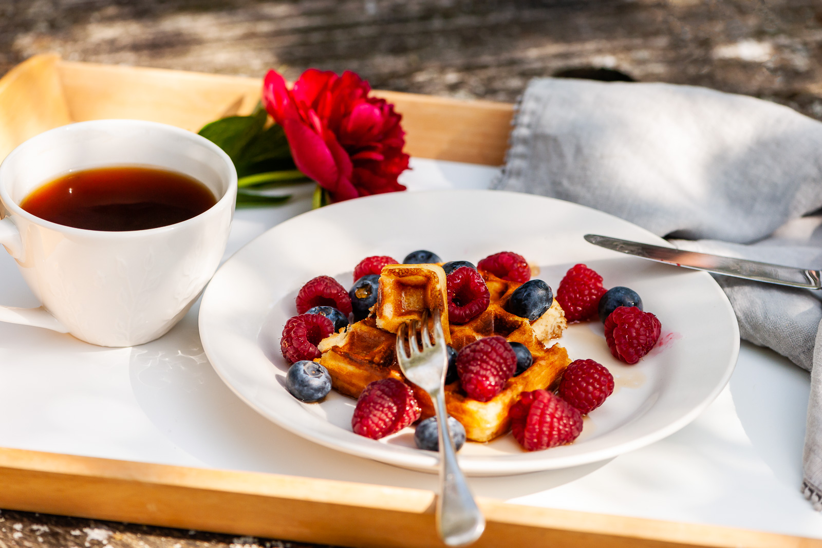 Waffles and Fresh Fruit for outdoors summer breakfast - Sue Todd Photography