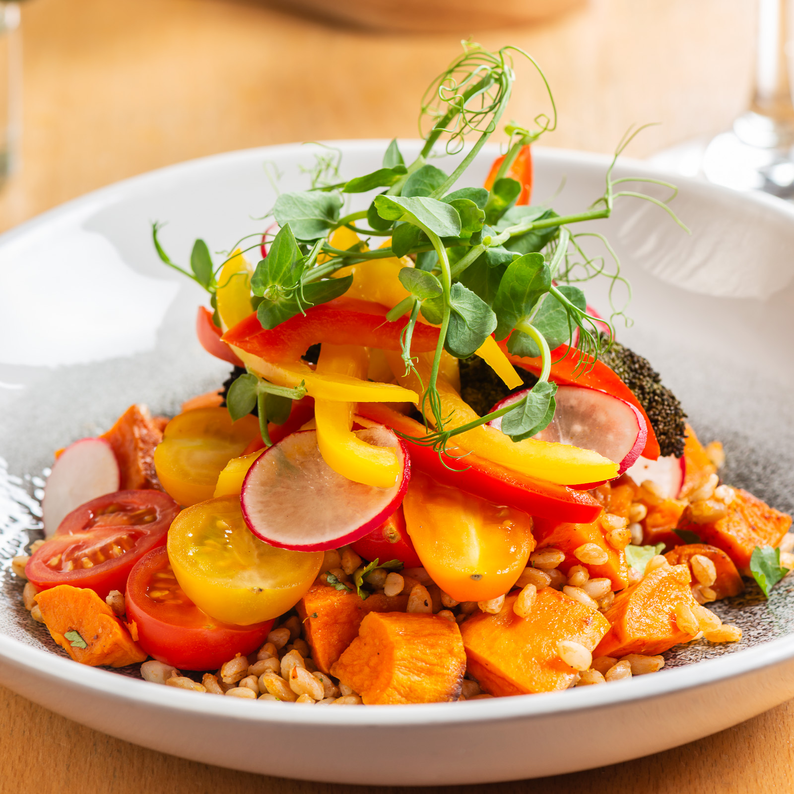 Super Food Salad - Farro, harissa sweet potato, pickled peppers, grilled broccoli, avocado and coconut dressing by Searcys. Photography by Sue Todd Photography
