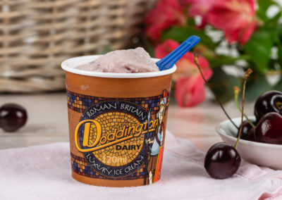 Cherry Ice Cream from Doddington Dairy. Photography by Sue Todd Photography.