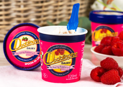 Raspberry Ice Cream from Doddington Dairy. Photography by Sue Todd Photography